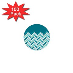 Zigzag pattern in blue tones 1  Mini Buttons (100 pack)