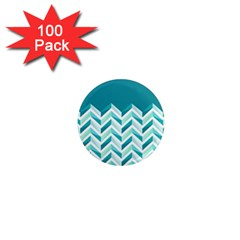 Zigzag pattern in blue tones 1  Mini Magnets (100 pack)