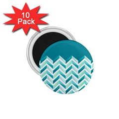 Zigzag pattern in blue tones 1.75  Magnets (10 pack)