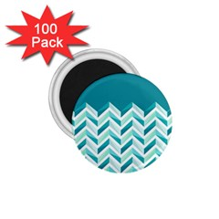 Zigzag pattern in blue tones 1.75  Magnets (100 pack)
