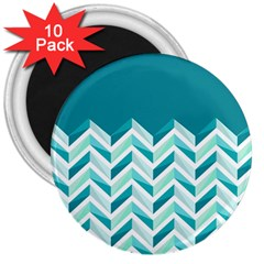 Zigzag pattern in blue tones 3  Magnets (10 pack)