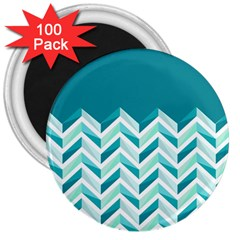 Zigzag pattern in blue tones 3  Magnets (100 pack)