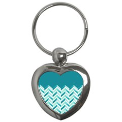 Zigzag pattern in blue tones Key Chains (Heart)