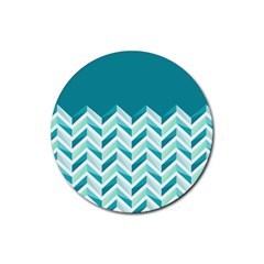 Zigzag pattern in blue tones Rubber Coaster (Round)