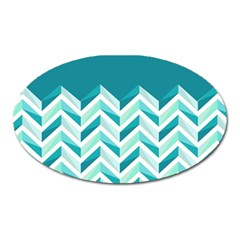 Zigzag pattern in blue tones Oval Magnet