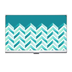 Zigzag pattern in blue tones Business Card Holders