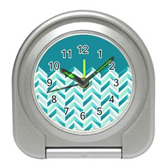 Zigzag pattern in blue tones Travel Alarm Clocks