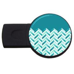 Zigzag pattern in blue tones USB Flash Drive Round (4 GB)