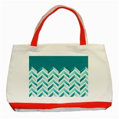 Zigzag pattern in blue tones Classic Tote Bag (Red)