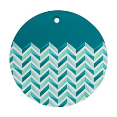 Zigzag pattern in blue tones Round Ornament (Two Sides)