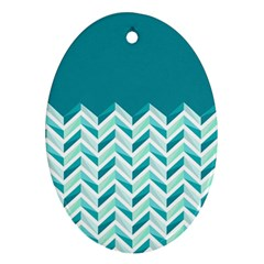 Zigzag pattern in blue tones Oval Ornament (Two Sides)