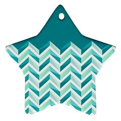 Zigzag pattern in blue tones Star Ornament (Two Sides)