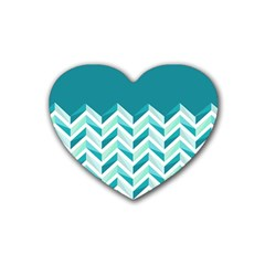 Zigzag pattern in blue tones Rubber Coaster (Heart)