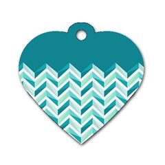 Zigzag pattern in blue tones Dog Tag Heart (One Side)