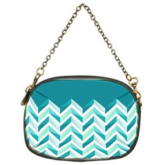 Zigzag pattern in blue tones Chain Purses (One Side)
