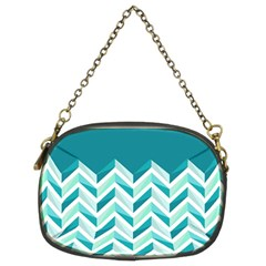 Zigzag pattern in blue tones Chain Purses (Two Sides)