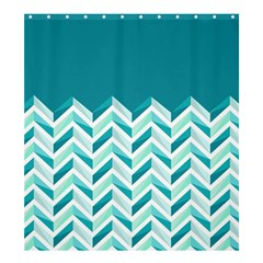 Zigzag pattern in blue tones Shower Curtain 66  x 72  (Large)
