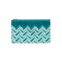 Zigzag pattern in blue tones Cosmetic Bag (Small)