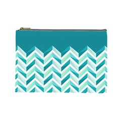 Zigzag pattern in blue tones Cosmetic Bag (Large)