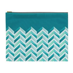 Zigzag pattern in blue tones Cosmetic Bag (XL)