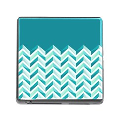 Zigzag pattern in blue tones Memory Card Reader (Square)