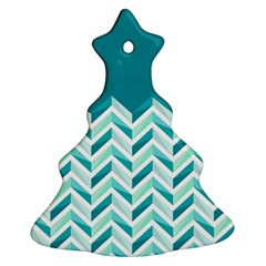 Zigzag pattern in blue tones Christmas Tree Ornament (Two Sides)