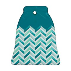 Zigzag pattern in blue tones Bell Ornament (Two Sides)