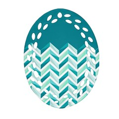 Zigzag pattern in blue tones Ornament (Oval Filigree)