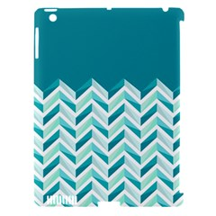 Zigzag pattern in blue tones Apple iPad 3/4 Hardshell Case (Compatible with Smart Cover)