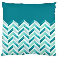 Zigzag pattern in blue tones Large Cushion Case (One Side)