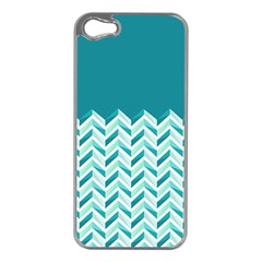 Zigzag pattern in blue tones Apple iPhone 5 Case (Silver)