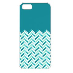 Zigzag pattern in blue tones Apple iPhone 5 Seamless Case (White)