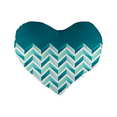 Zigzag pattern in blue tones Standard 16  Premium Heart Shape Cushions
