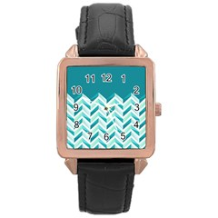 Zigzag pattern in blue tones Rose Gold Leather Watch