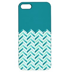 Zigzag pattern in blue tones Apple iPhone 5 Hardshell Case with Stand