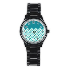Zigzag pattern in blue tones Stainless Steel Round Watch