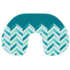Zigzag pattern in blue tones Travel Neck Pillows