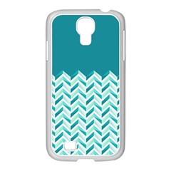 Zigzag pattern in blue tones Samsung GALAXY S4 I9500/ I9505 Case (White)