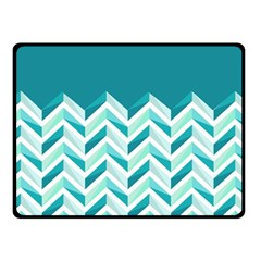 Zigzag pattern in blue tones Double Sided Fleece Blanket (Small)
