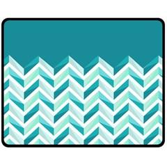 Zigzag pattern in blue tones Double Sided Fleece Blanket (Medium)