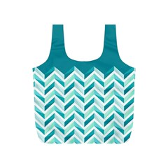 Zigzag pattern in blue tones Full Print Recycle Bags (S)