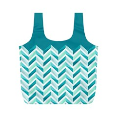Zigzag pattern in blue tones Full Print Recycle Bags (M)