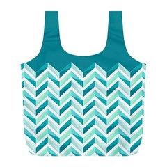 Zigzag pattern in blue tones Full Print Recycle Bags (L)