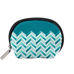 Zigzag pattern in blue tones Accessory Pouches (Small)