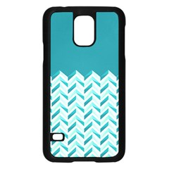 Zigzag pattern in blue tones Samsung Galaxy S5 Case (Black)