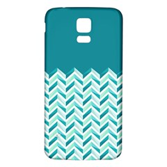 Zigzag pattern in blue tones Samsung Galaxy S5 Back Case (White)