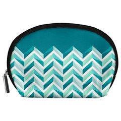 Zigzag pattern in blue tones Accessory Pouches (Large)