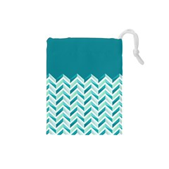 Zigzag pattern in blue tones Drawstring Pouches (Small)