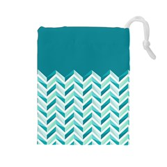 Zigzag pattern in blue tones Drawstring Pouches (Large)
