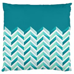 Zigzag pattern in blue tones Large Flano Cushion Case (One Side)